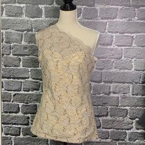 NWT Boston Proper Sequin Lace One Shoulder Peplum
